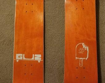 Creamsicle, custom glow in the dark skateboard deck