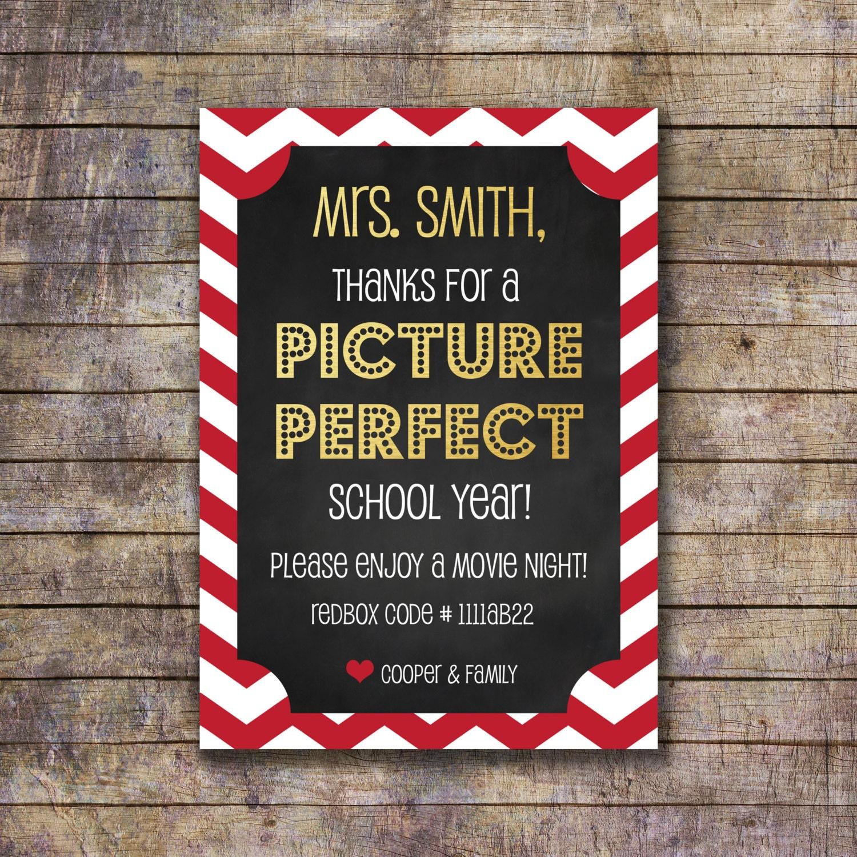 Printable Movie Night Themed Teacher Appreciation Gift Card