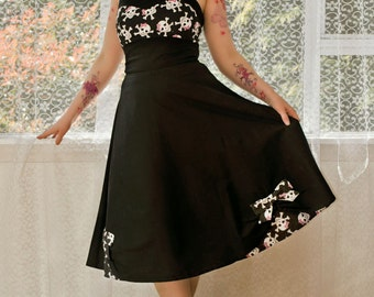 """1950's """"Phoebe"""" Style Rockabilly Pin up Dress with Skull Bodice and Sweetheart Neckline and Bow Detail - custom made to fit"""