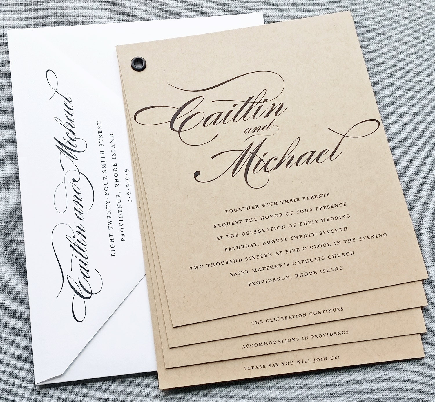 Caitlin Kraft Booklet Wedding Invitation Sample Black