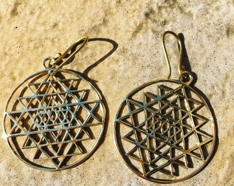 The Divine Earrings - Solid brass circular drop earrings with sacred geometry detailing