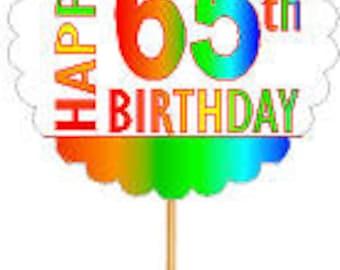 Happy 65th Birthday Rainbow Cupcake Decoration Topper Picks -12pk