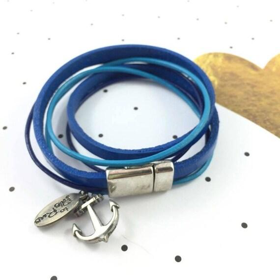 Leather, magnetic, magnet, bracelet, blue, anchor charm, choker necklace, magnet, les perles rares