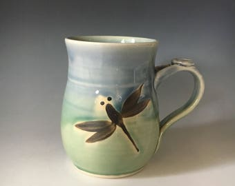 Dragonfly Mug, Unique Coffee Cup, Dragonfly Mug, Blue and Green Dragonfly Coffee Cup,Tea Cup, Handmade Mug.