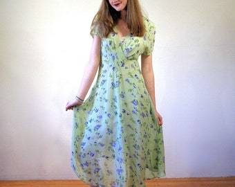 90s April Cornell Dress XS, Light Green Floral India Rayon Retro Sheer Grunge Boho Midi 1930s Style Vintage Summer Romantic, Extra Small
