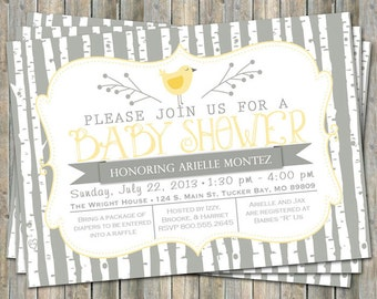bird baby shower invitation, typography baby shower invitation with birch trees, digital, printable file