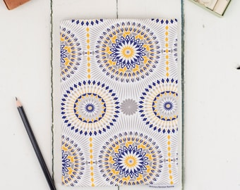 A5 Dime Sketchbook, mustard, blue, grey, yellow and navy geometric pattern journal, white pages, blank for watercolours and drawing