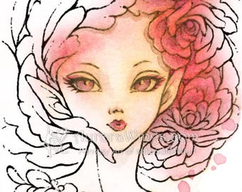 Digital Stamp - Rose Fairy 2 - Beautiful Elf with Rose Blooms in Hair - Fantasy Line Art for Cards & Crafts by Mitzi Sato-Wiuff