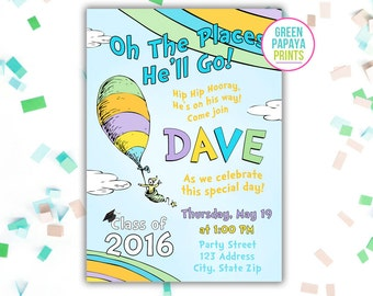 Kindergarten Graduation - Oh The Places You'll Go Graduation - Graduation Invitation - Preschool Grad Invite - Digital Printable File