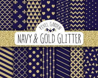 Navy and Gold Glitter Digital Paper Pack. Quatrefoil, Polka Dot, Triangle Scrapbooking Paper. Blue Digital Paper. Gold Glitter Pattern.