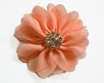 "Peach Chiffon Flowers. 3"" Chiffon Flowers with Glass Rhinestone Center. QTY: 1 Flower  ~Brea Collection"