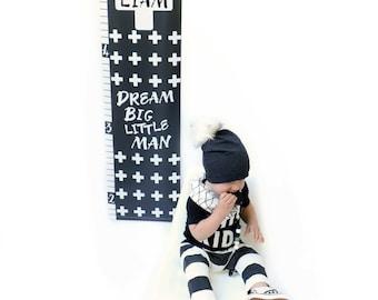 Monochrome Personalized Dream Big Little Man Growth Chart; Height Chart, Children's Wall Art, Baby Gift, Newborn