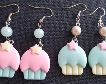 Pastel cupcake earrings
