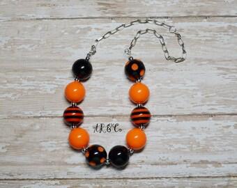Happy Halloween Orange and Black Bubblegum Necklace