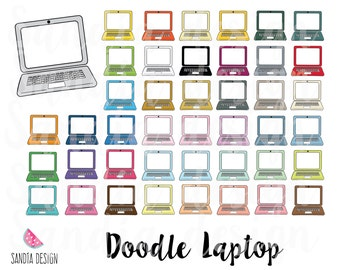 43 Doodle Laptop clipart. Personal and comercial use.