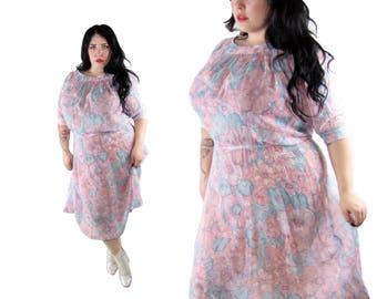 Plus Size Vintage 1970's Sheer Floral Dress - Size 1X