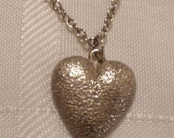 Pewter Heart Pendant Necklace - Valentine's Day Heart Necklace -  All of My Heart Necklace - Cast in the USA