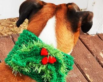 Dog Cowl Crochet Holly Berry. Dog scarf, dog snood, dog accessory, dog neck warmer,  dog ear warmer, dog, fashion dog, Christmas, dog