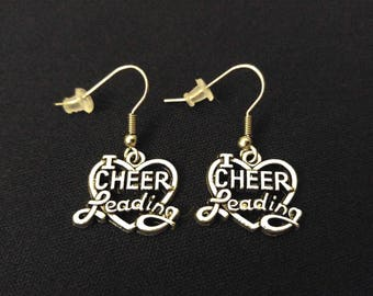 CHEERLEADING Charm Earrings Stainless Steel Ear Wires Silver Metal Unique Gift