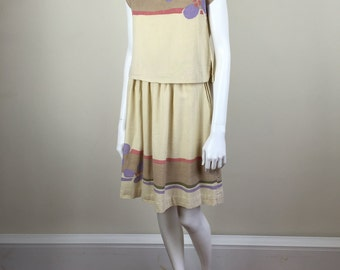cotton full skirt and crop top set 70s