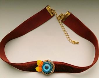 Orange & Blue Beadwoven Eye Choker, Yellow Orange Eye, Beaded Pendant, Statement Pendant, Orange leaves, fall autumn - Red Velvet Eye Choker