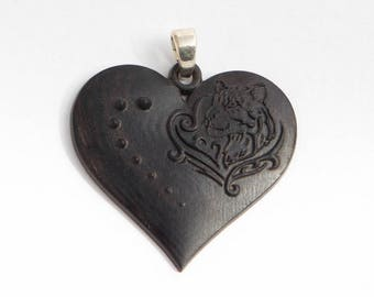 Wooden pendant heart Wooden Jewelry Heart Wooden Heart Necklace Black heart pendant Carved wooden heart pendant Little Heart Pendant