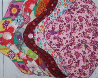 Set of 6 Flannel  panty liners with wings 8 inches assorted floral prints