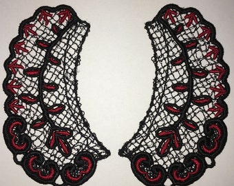 Lace Collar in TWO Colors, BLACK and RED for 18 inch dolls such as American Girl #CR00-04
