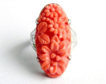 Vintage Art Nouveau Sterling Silver Filigree Salmon Coral Flowers Ring - Flower and Leaf Detail Molded Carved Celluloid - Size 5 - Unique