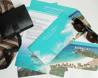 Tropical Ticket Invitation with Travel Wallet and Info Sheet for Tropical Wedding