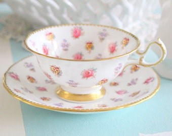 Vintage English Bone China Tea Cup and Saucer by Royal Chelsea, Wide Mouth Tea Cup, Replacement China