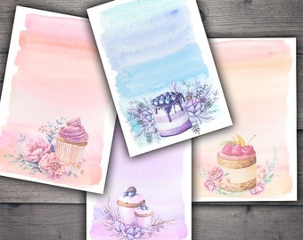 Watercolor Desserts Recipe Card Printables - Cupcakes and Desserts Digital Collage Sheet