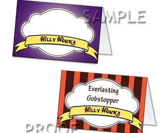Willy Wonka Printable digital candy name tent card labels for parties or gift tag