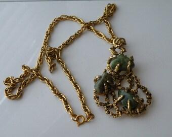 On Sale Modernist brutalist goldtone pendant necklace with aventurine stone
