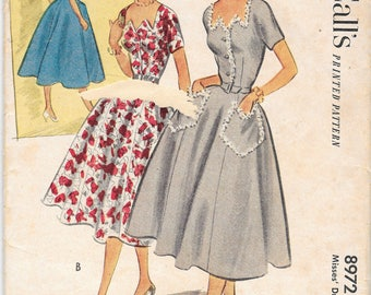 UNCUT Vintage McCalls 1950s Saw Neck Full Skirt Dress Sewing Pattern Size 12 Bust 30