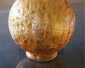 YAVA Glass - Recycled Amber Crackled Glass Globe Lamp Shade