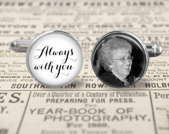 Custom Memorial Photo Cufflinks, Mens Accessories, Wedding Cufflinks, Always With You