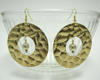 OOAK large gold animal print textured hoop earrings with dangle textured bead center