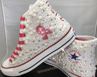 Breast Cancer Custom Converse- Pink Ribbon Bling & Pearls Custom Converse Sneakers- Personalized Chuck Taylors- All Star Converse Sneakers-
