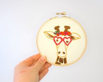 Hipster Giraffe Hoop Art - Hand Embroidered Giraffe Wall Hanging - Giraffe with glasses and flower crown- Giselle Longneck