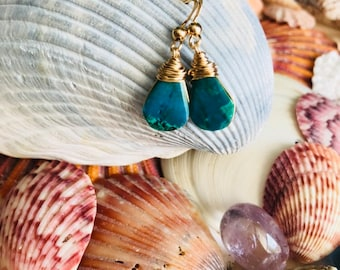 Gold filled Chrysocolla Earrings