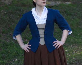 18th century linen jacket and stomacher, choose size and colour! Colonial Historical Costume Reenactment Rococo Living History