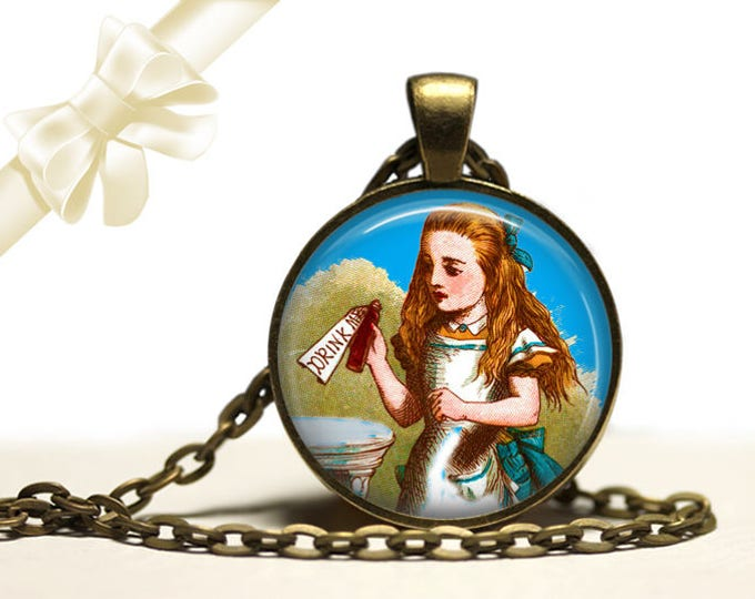 Alice in Wonderland Drink Me brass Pendant Necklace Free Shipping Gifts for her