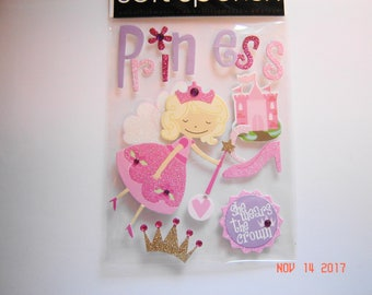 PRINCESS, She Wears the Crown, Soft Spoken, Dimensional Stickers, Scrapbooking, Cards, Crafts, Collage, Stationary, Arts and Crafts (SP19)