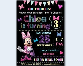 SALE Minnie mouse Birthday Invitation, Minnie mouse Invitation, Minnie mouse chalkboard invitation- Digital file