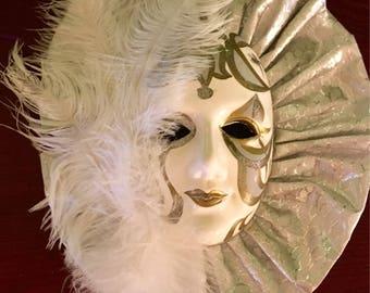 "Mardi Gras Mask, Vintage, carnival, 10"" Beautiful!"