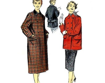 SALE 1950s Misses Coat Advance 7763 Vintage Sewing Pattern Side Zipped Skirt Double Breasted Coat in Two Lengths Size 14 Bust 32