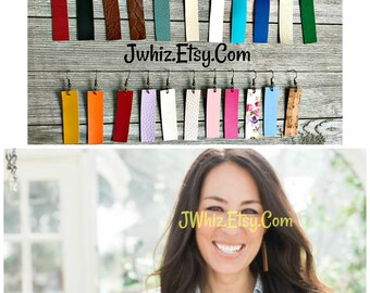 Joanna Gaines Leather Earring, Leather Rectangle Earring, Rustic Jewelry, HGTV Fixer Upper, Black, Brown, Cream, Blue, Turquoise, Teal, Gold