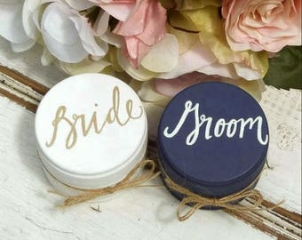 Bride and Groom Ring Boxes, Ring Bearer Box, Set of Two, Wooden Ring Box, Wedding Gift, Rustic Ring Bearer Box with Burlap