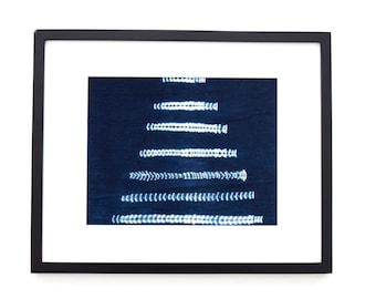 "African Mudcloth Framed Wall Art, Matted indigo mudcloth fabric, Boho wall art 16""x20"""
